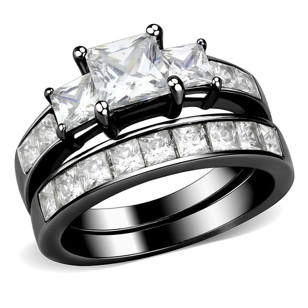 Couples Rings Black Set Womens 3 Stone Type Princess CZ Engagement Ring Mens Flat Wedding Band