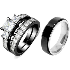 Couples Rings Black Set Womens 3 Stone Type Princess CZ Engagement Ring Mens Two Tone Spinning Band