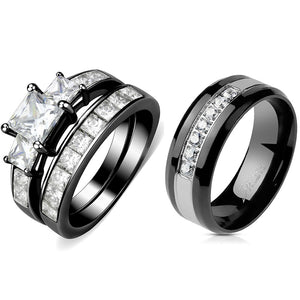 Couples Rings Black Set Womens 3 Stone Type Princess CZ Engagement Ring Mens 7 CZs Two Tone Band