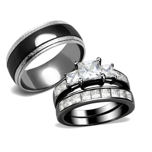 3 PCS Couple Black Pear Cut CZ Stainless Steel 2 Rings Set//Mens Spinning Band