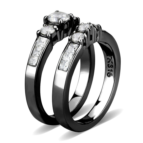Couples Rings Black Set Womens 3 Stone Small Round CZ Engagement Ring Mens Flat Wedding Band