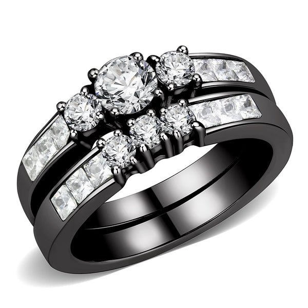 Couples Rings Black Set Womens 3 Stone Small Round CZ Engagement Ring Mens Two Tone Band