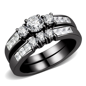 Three-Stone Type Round CZ Black IP Stainless Steel Wedding Ring Set