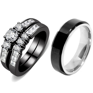 Couples Rings Black Set Womens 3 Stone Small Round CZ Engagement Ring Mens Spinning Band