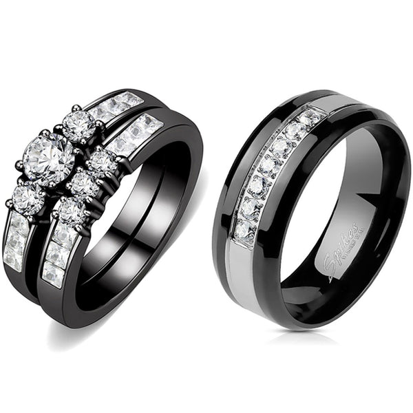 Couples Rings Black Set Womens 3 Stone Small Round CZ Engagement Ring Mens 7 CZs Two Tone Band