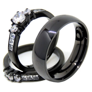 Couples Rings Black Set Womens 3 Stone Small Round CZ Engagement Ring Mens Traditional Wedding Band