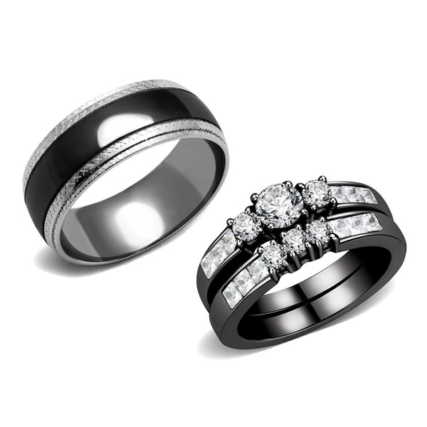 Couple Rings Black Set Womens Stainless Steel Small Round CZ Engagement Ring Set Mens Wedding Band