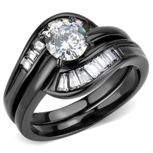 Womens Round and Trapeze Cut CZ Black IP Stainless Steel Wedding Ring Set