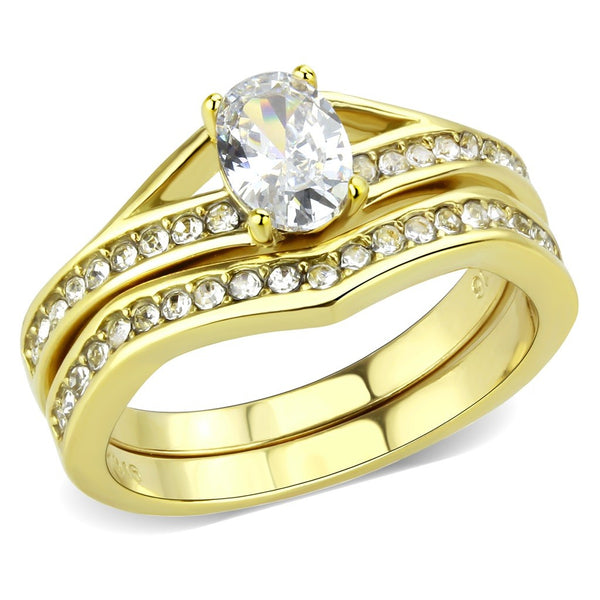 Womens Oval Cut CZ Gold IP 316 Stainless Steel Wedding Ring Set