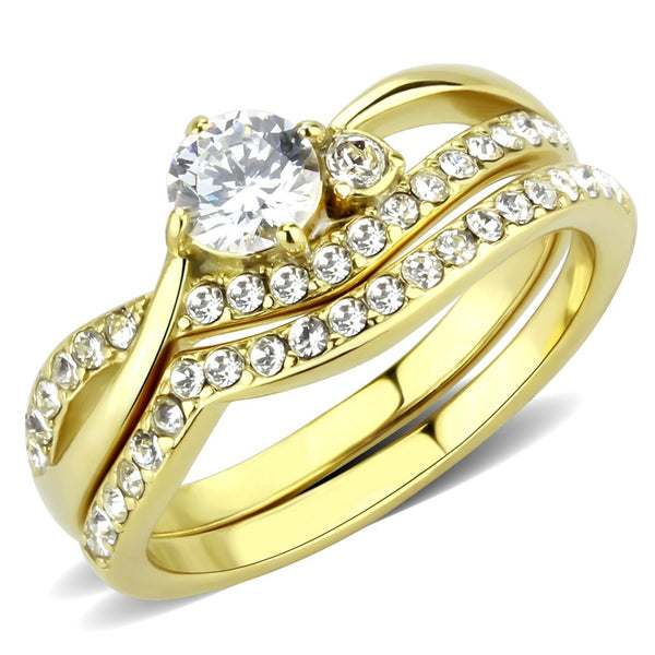 Womens 5mm Round Cut CZ 14K Gold IP 316 Stainless Steel Wedding Ring Set