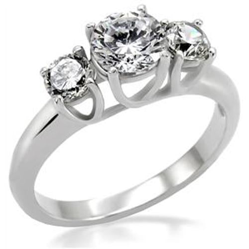 3 CZ Stone Stainless Steel Wedding Engagement Ring - LA NY Jewelry