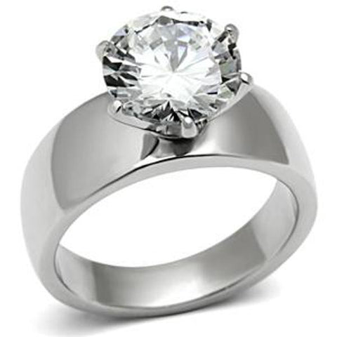 Wide Band Solitaire CZ Womens Stainless Steel Wedding Ring - LA NY Jewelry