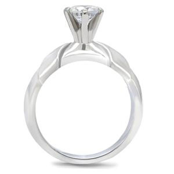 5mm Round CZ High Sit Stainless Steel Wedding Ring - LA NY Jewelry