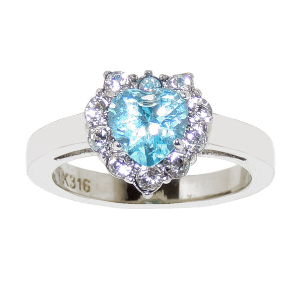 Heart Cut Light Blue CZ Stainless Steel Tarnish Free Ring - LA NY Jewelry