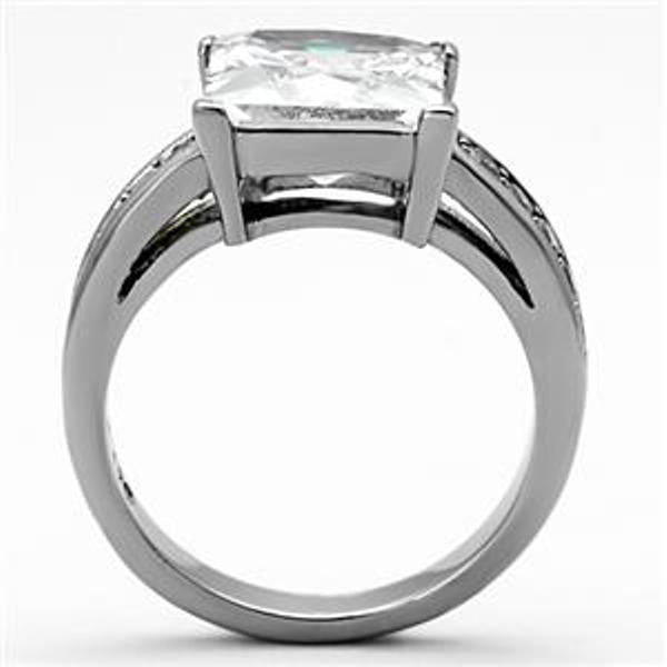 10x10mm Princess Cut CZ Stainless Steel Ring - LA NY Jewelry
