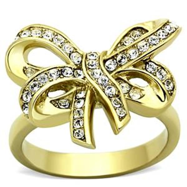 Gold Ion Plated Stainless Steel Bow Ribbon Ring - LA NY Jewelry