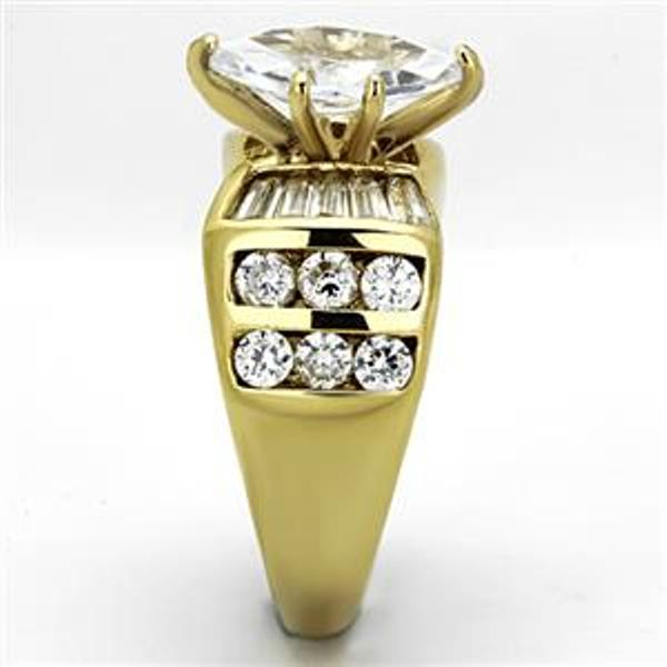 12x6mm Marquise Cut CZ Gold IP Stainless Steel Ring - LA NY Jewelry