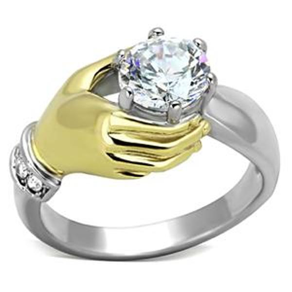 7x7mm Round Cut CZ Two Tone Gold IP Stainless Steel Ring - LA NY Jewelry