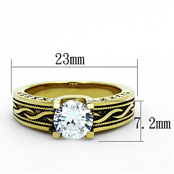 6x6mm Round CZ Gold IP Stainless Steel Antique style Ring - LA NY Jewelry