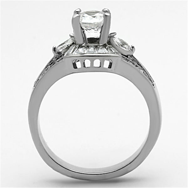 5x5mm Round CZ center Multiple-Cut CZ Stainless Steel Ring - LA NY Jewelry