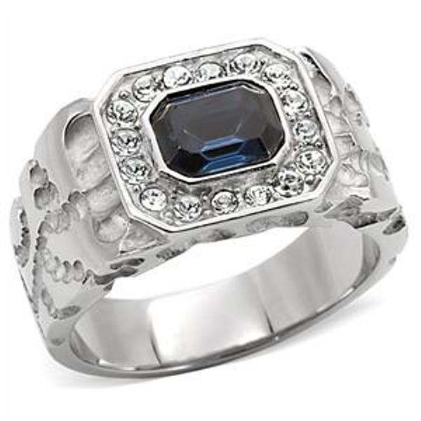 1.5 Carat Emerald cut Simulated Sapphire Stainless Steel Ring - LA NY Jewelry