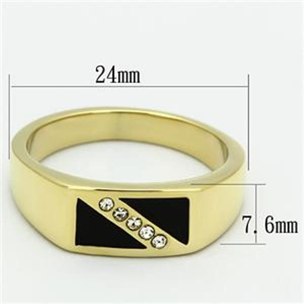 Gold Ion Plated Stainless Steel CZ in Onyx Men's Wedding Band - LA NY Jewelry