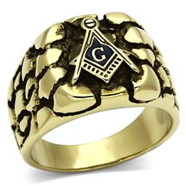 Gold Ion Plated Stainless Steel Rugged Masonic Mason Mens Ring - LA NY Jewelry