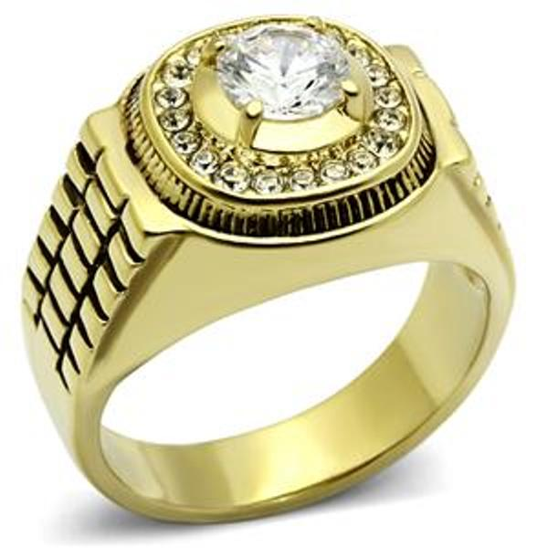 6x6mm Round CZ Gold IP Stainless Steel Mens Wedding Ring - LA NY Jewelry
