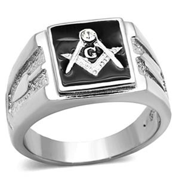 Front Face Solid Back 316 Stainless Steel Mason Men's Ring - LA NY Jewelry