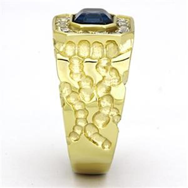 Gold IP Stainless Steel Simulated Sapphire Mens Ring - LA NY Jewelry