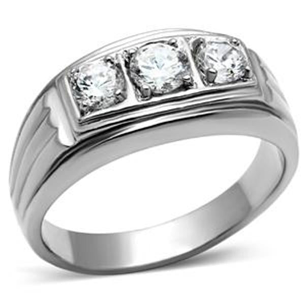 Three CZ Stone Stainless Steel Never Tarnish Mens Wedding Ring - LA NY Jewelry