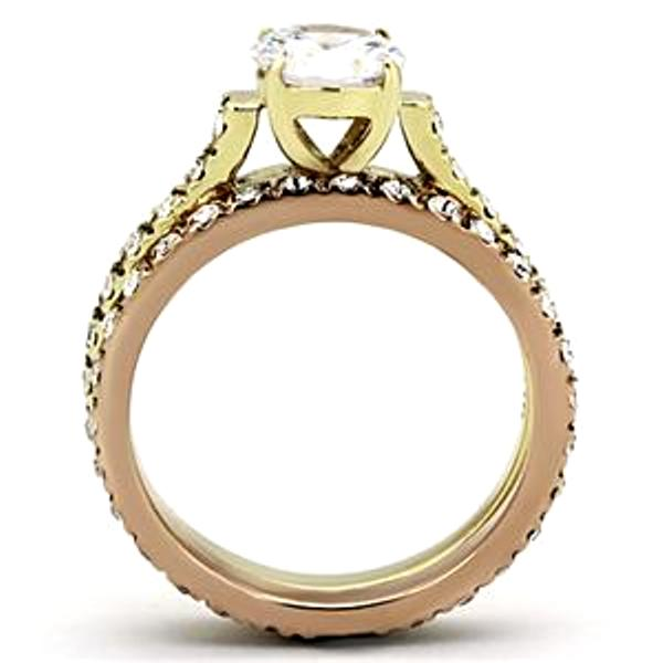 6x6mm Round CZ 2-Tone Gold/Rose Gold IP Stainless Steel Ring - LA NY Jewelry