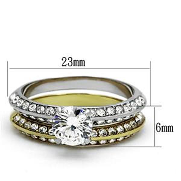 6x6mm Brilliant cut CZ Two Tone Gold Stainless Steel Engagement Ring Set - LA NY Jewelry