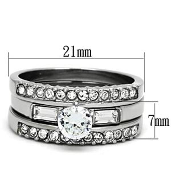 5x5mm Round CZ Center Stainless Steel Engagement 3 Rings Set - LA NY Jewelry
