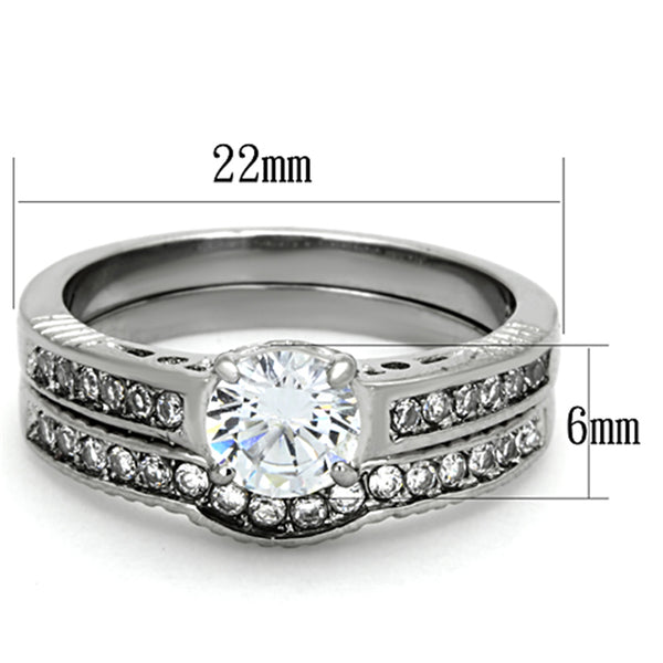 6x6mm Brilliant Cut CZ Tarnish Free Stainless Steel Wedding Ring Set - LA NY Jewelry