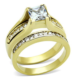 7x7mm Princess Cut CZ Gold IP Stainless Steel Wedding Ring Set - LA NY Jewelry