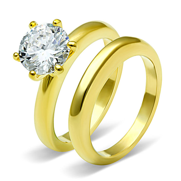 7x7mm Round Cut CZ Solitaire Gold IP Stainless Steel Ring Set - LA NY Jewelry