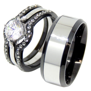 His Hers 4 PCS Black IP Stainless Steel Round Cut CZ Wedding Set Mens Two Tone Band - LA NY Jewelry
