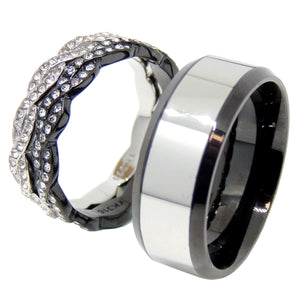 His Hers Ring Set Womens Two Tone Stainless Steel 2 Band Set Mens Two Tone Band - LA NY Jewelry