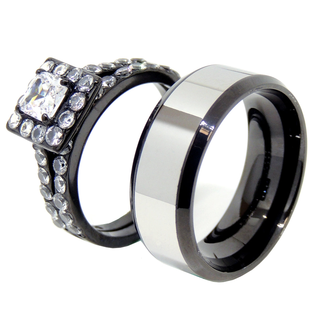 His Hers Ring Set Womens Princess Square CZ Anniversary Ring Set Mens Two Tone Band - LA NY Jewelry