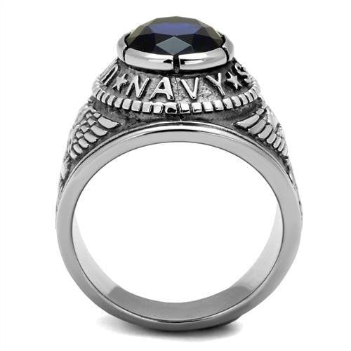 316 Stainless Steel Wide Band Navy Mens Sapphire CZ Ring