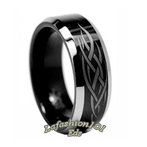 8mm Black Ion Plated Laser Engraved Tungsten Carbide Mens Wedding Band - LA NY Jewelry