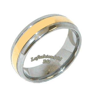 Classic Tungsten Carbide Gold IP Stripe Center Men or Women Wedding Engagement Band - LA NY Jewelry