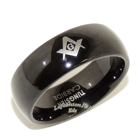 Black Ion Plated Tungsten Carbide Mens Masonic Mason Ring - LA NY Jewelry