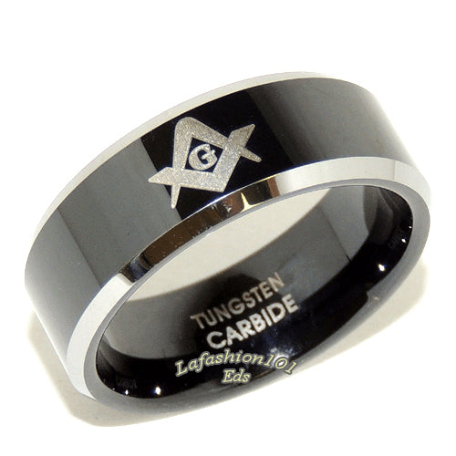 Black Ion Plated Tungsten Mens Masonic Freemason Beveled Edge Ring Band - LA NY Jewelry