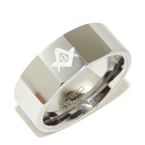 8mm High Polish Tungsten Carbide Mens Masonic Freemason Ring - LA NY Jewelry