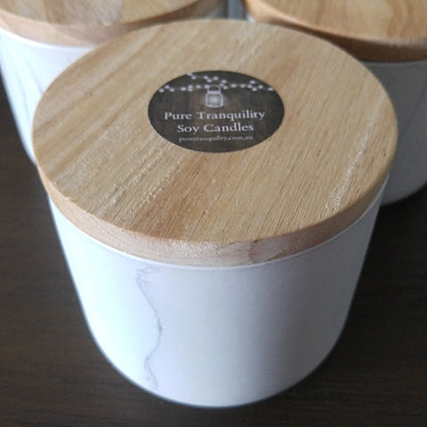 Marble Look Canister 400ml - Woodwick Soy Candles by Pure Tranquility Candles - Pure Tranquility Candles