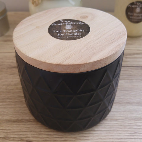 Black Embossed Canister 400ml - Woodwick Soy Candles by Pure Tranquility Candles - Pure Tranquility Candles