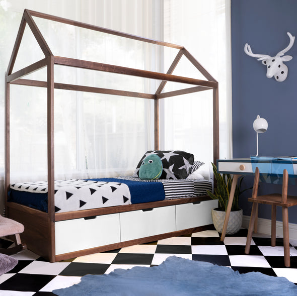 Modern Kids Furniture Domo Zen Bed with Drawers and Rails - nicoandyeye.com
