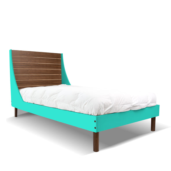Minimo Twin Bed - Walnut Mint | Modern Bedroom Furniture for Kids | Los Angeles